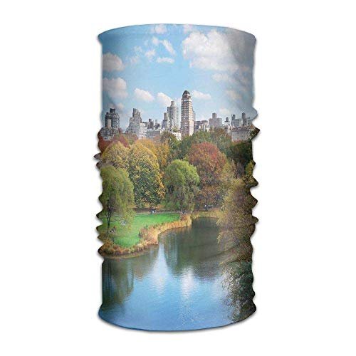Womens Mens Turban Central Park in Autumn with Lake Trees and Manhattan USA American Nature Image Hip Hop Headkerchief -