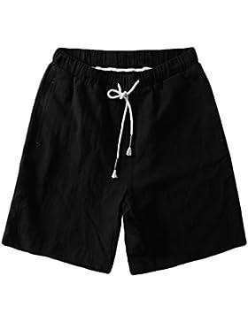ZKOO Pantalones Cortos Lino Hombre Bermuda Cortos con Cordón Verano Outdoor Deporte Shorts Pantalones Cortos de...