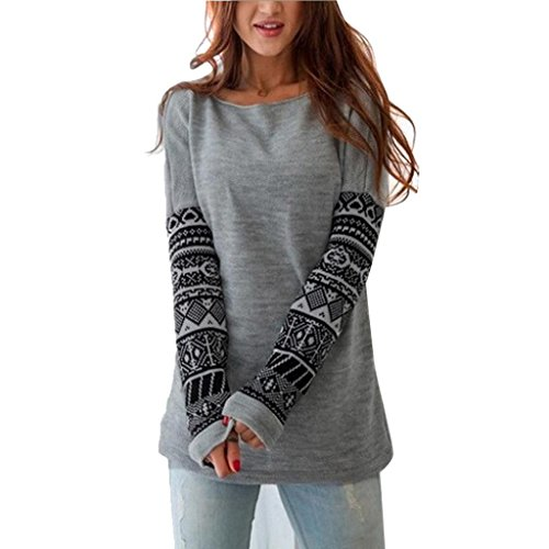 AMUSTER Donna Girocollo E Manica Lunga Stampato Grigio Cime Casual Camicetta Sciolto Cotone Top T Shirt Donna (XL)