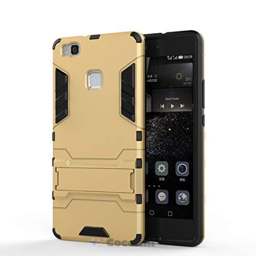 Cocomii Iron Man Armor Huawei P9 lite/Honor 8 Smart Hülle [Strapazierfähig] Taktisch Griff Ständer Stoßfest Gehäuse [Militärisch Verteidiger] Case Schutzhülle for Huawei P9 lite (I.Gold)