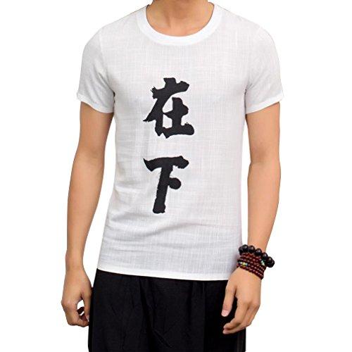Honghu Herren National Wind Crew Neck Drucken T-shirt Weiß ZaiXia