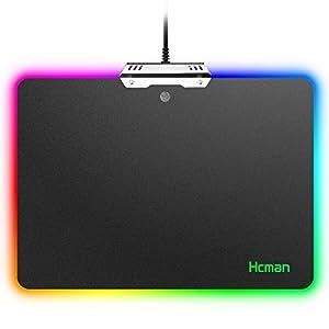RGB Gaming Mauspad Hard LED Mouse Mat,Hcman Beleuchtung Harte Spiel Mausunterlage,Justierbare 9 LED Färbt USB Maus Matte,13.8 X 9.8 X 0.2 Zoll Schwarzes