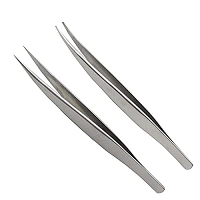 Eyebrow Plucking Tweezers - FEITA Precision Pointed & Slant Eyebrow Tweezers for Women Facial Hair Removal, Ingrown Hair Applicator - 2 Pcs