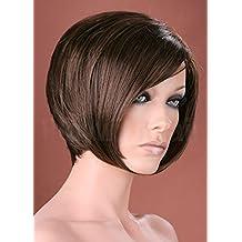 Parrucca da donna elegante marrone stile Bob Pixie Cut Face Frame Short  parrucca 2e3b7db5e4b5