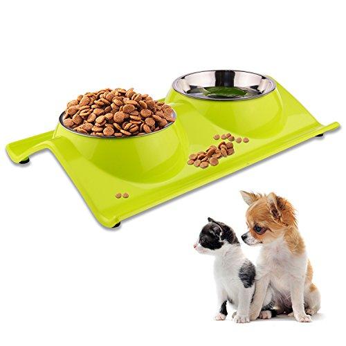 ShareWe Ciotole per Cani Gatti Antiscivolo Animali Vassoio in Acciaio Inox Alimentare Acqua per Animali Ciotola Cane per Acqua e Cibo per Piccoli, Medi e Grandi Cane, Gatti (Verde)