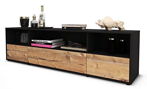 Stil.Zeit TV Schrank Lowboard Aurelia, Korpus in Anthrazit Matt/Front im Holz-Design Pinie (180x49x35cm), mit Push-to-Open Technik und Hochwertigen Leichtlaufschienen, Made in Germany