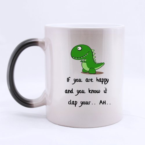 Funny Magic Morphing Coffee Mug/Tazas de desayunos or Tea Cup Green Dinosaur Mug/Tazas de desayuno- If You Are Happy and You Know It Clap You.. Ah..