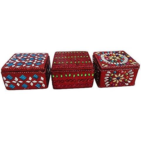 scatola decorativa indiana stile vintage lac box monili in rilievo tavolo decorazioni per la casa in alto decorativi fatti a mano antico pill box set di 3 pezzi