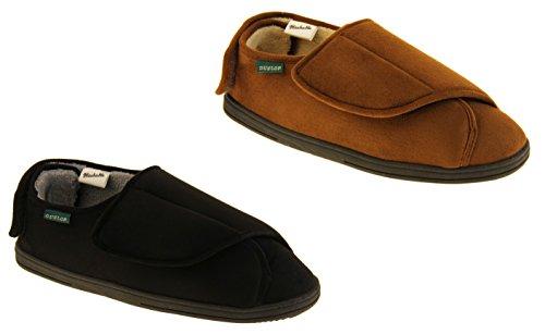 Hommes Dunlop fourrure Velcro doublé Chaussons