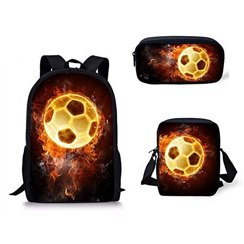 LKJH Rucksack Kinder Schultaschen EIS Ball Muster Schulrucksack Für Teen Jungen Mädchen Kinder Buch Taschen 3 Teilig, F -
