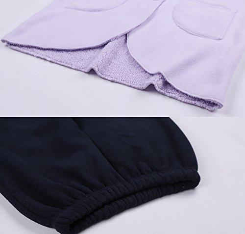 WanYang Donne 2 Pezzi in Inverno Caldo Camicia da Notte in Inverno Camicia Pannelli Indumenti da notte in Pantofole Flanella Viola