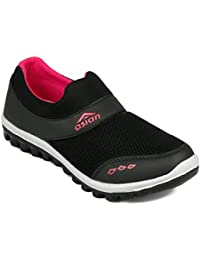 Asian shoes RIYA-04 Black Rani Pink Canvas Women Shoes