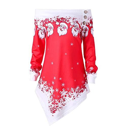 MERICAL Damen Weihnachts Deko Santa Snowflake Printed Tops Schulterfrei Asymmetrisches Sweatshirt(EU:40/CN:M,Rot)