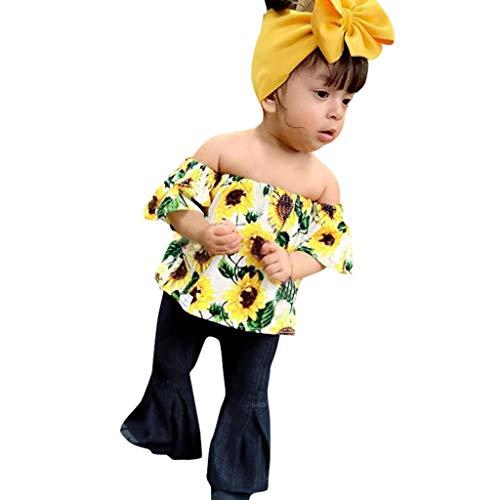 jerferr Baby Maedchen Set Kleidung Kleinkind Schulterfrei Sonnenblumendruck Tops + Denim Hosen Outfits Sets