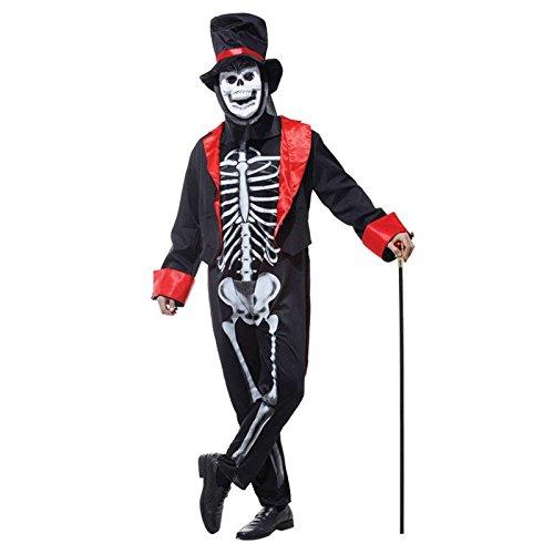 Imagen de adulto hombre calavera esqueleto hombre disfraz día de los muertos bond halloween terror disfraz alternativa