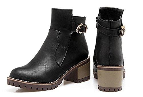 Aisun Femme Rétro Low Boots Fermeture Eclair Talon Bloc Martin Bottes Bottines Noir