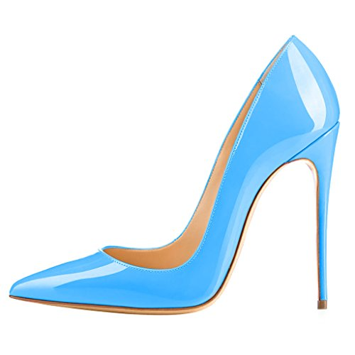 Calaier Ladies Caover 12cm Stiletto Slip On Pumps Scarpe Blu F