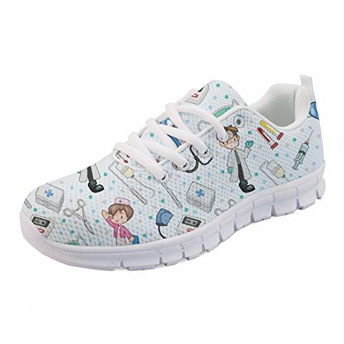 Coloranimal Casual Schnürschuhe für Damen Cartoon Krankenschwester Schuhe Atmungsaktiv EU Größe 39 -