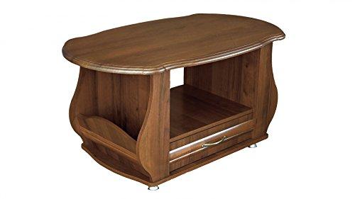 Couchtisch Tisch Beistelltisch Holztisch Wohnzimmertisch Retro Tisch MDF NUSSBAUM 367 (Beistelltisch Nussbaum Schublade 2)