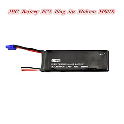 MuSheng TM 1 pc Black 7.4V 2700MAH 10C Battery With EC2 Plug for Hubsan H501S X4 from MuSheng