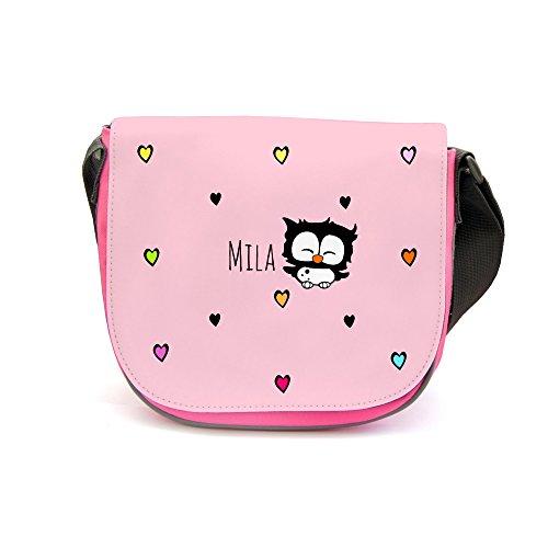 Kindergartentasche Kindertasche Umhängetasche Schultertasche Tasche Eule mit Herzen und Wunschnamen kgt05 - ausgewählte Farbe: *rosa Aufdruck* gelber Aufdruck