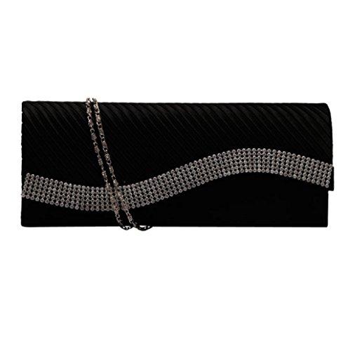 Dairyshop Sacchetto di modo della borsa della frizione di cerimonia nuziale del partito di sera delle borse del raso del Rhinestone delle donne (Nero) Nero