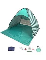 Manfâ Familia Pop emergente de Playa y Tienda de Playa portátil para 2 o 3 Personas, Protector Solar con protección UV SPF 50+ - Incluye Bolsa de Viaje (Verde Claro)