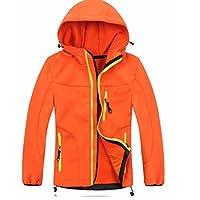 Girls Boys Waterproof Rain Jackets Wind Breaker Lined Jackets Hooded Warm Age 3-9 Years (Orange, 3-4 Years (Small))