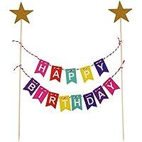 VEYLIN Rainbow Birthday Cake Bunting Topper for Kids Girls Boys Birthday Party Decoration
