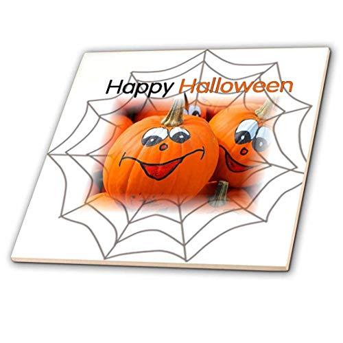 3drose Print of Happy Halloween mit Spinnennetz und Kürbisse–Keramik Fliesen, 12Zoll (CT _ 210564_ 4)