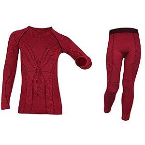 Brubeck® SET EXTREME MERINO Kinder Shirt + Hose Lang Unterwäsche | Funktional | Merino | Verschiedene Größen | Atmungsaktiv | 92-134, Größe:104-110;Farbe:pink
