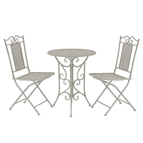 Preisvergleich Produktbild vidaXL 3-tlg. Bistroset Sitzgruppe Balkonset Gartenmöbel Garnitur Stahl Grau