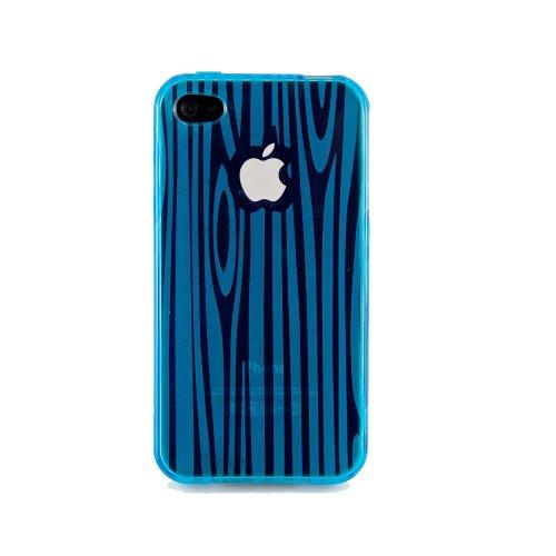 wortek® Silikon TPU Schutzhülle Holz Muster für Apple iPhone 4 / 4S Pink Hellblau