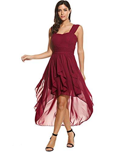 ACEVOG Damen Chiffon Kleid Abendkleid mit Saum Wickelkleid Sommerkleid Freizeitkleid Partykleid Chiffonkleid knielang (XL, Weinrot)
