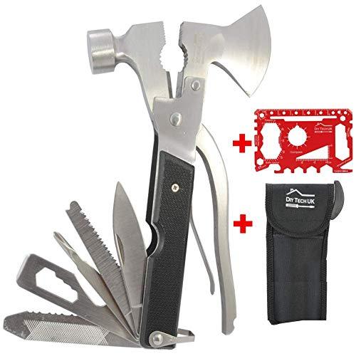 DIY TECH UK - 17-in-1 Axt Multifunktionswerkzeug + Kostenloses 36-in-1 Werkzeug - EXTRA STARK Hoch Kohlenstoffhaltigen Stahl - Hammer, Zangen, Flaschenöffner, Messer, Sägen, Schraubendreher + Beutel Coole Gadgets