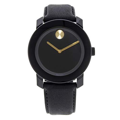 Movado Homme Bracelet Cuir Noir Boitier Acier Inoxydable Quartz Montre 3600480
