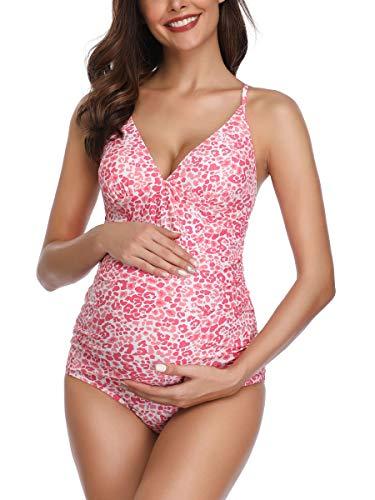 Traje de baño Mujer Maternidad Premamá Deportes Tankini Una Pieza de Dos Piezas Imprimiendo Rosa XL