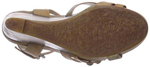 Buffalo H711B-15 P1690M P2023E P1690F Damen Knöchelriemchen Sandalen mit Keilabsatz Beige (Taupe 01)