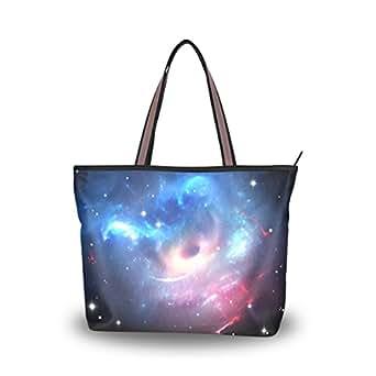 JSTEL Women Large Tote Top Handle Shoulder Bags Universe Galaxy Space Stars Patern Ladies Handbag