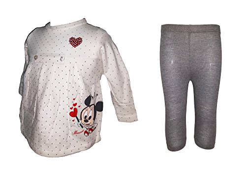 Disney maxi maglia manica lunga + leggings neonata cotone felpato minnie art. wd100558 (3-6 mesi, panna)