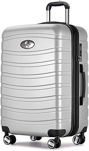 """Andreas Dell REISEKOFFER Trolley Koffer 28"""" XL Koffer TSA GUMMIROLLEN 360° Silber/Schwarz"""