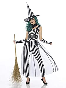 Karnival Costumes- Halloween Stripy Witch Disfraz, Color blanco y negro, extra-large (84232)