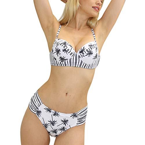 QINPIN Damen Push Up Split Badeanzug mit Blatt Seite mit plissierten Bikini Hose Sommer Weiß ()