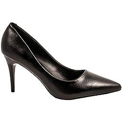 Elara Damen Pumps Spitze High Heels Stilettos Lack Schwarz 36
