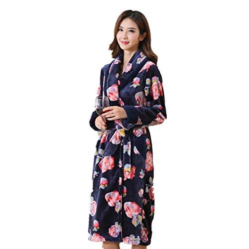 DMMSS Women 's autunno e l'inverno della camicia da notte di flanella Pajamas Longer Paragrafo accappatoio Sleepwear , 1 , xxxl - Terry Bambino Bambola