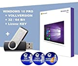 Windows 10 Professional 32/64 Bit Deutsch - USB Stick von Joleko - 1 Produktschlüssel - Betriebssystem Windows 10 Pro Vollversion