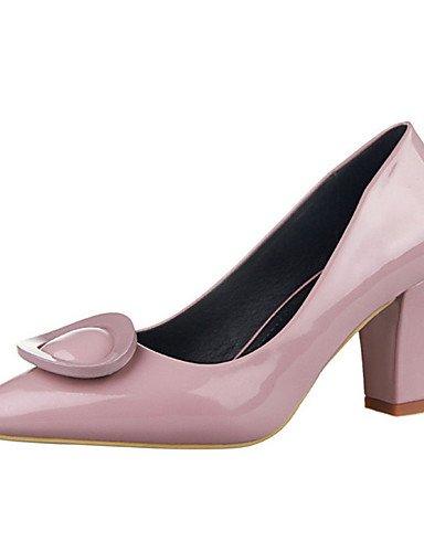 WSS 2016 Chaussures Femme-Décontracté-Noir / Bleu / Violet / Rouge / Gris / Amande-Gros Talon-Talons-Talons-PU purple-us6 / eu36 / uk4 / cn36