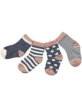 DEBAIJIA 4 Paare Babysocken Baumwolle 0-36 Monate Mädchen Jungen Baby ganzjährig Lieblich Weich Socken Bunt
