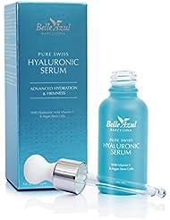 Belle Azul serum visage à l'Acide Hyaluronique de qualité Suisse avec Viamine C et cellules souches d'Argan. Hydrate ✔ tonifie✔ raffermit ✔ Vegan ✔ 30 ML