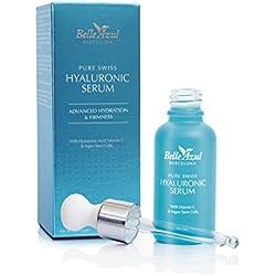 Belle Azul PURE SWISS – Serum facial de Ácido Hialurónico puro de alta calidad suiza, Con Vitamina C y Células Madre de Argán, 30ML